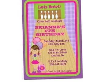 PRINTABLE Girl Bowling Party Invitation #509