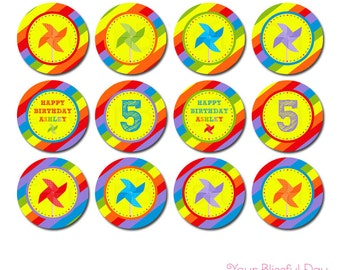 Colorful Pinwheels Party Circles | Pinwheel Cupcake Toppers | PRINTABLE Pinwheel Cupcake Toppers | Pinwheel Stickers #520