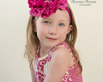 pink flower headband, hot pink peony headband, large flower headband, pink baby headband,flower girl headband