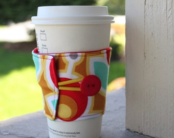 Fabric Java Jacket - Reusable Cozy - Cup Cuff -Red and Teal Primrose Poppy -Retro Flower Coffee Sleeve - Coffee Themed Gift To Go Cup Sleeve