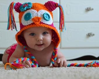 Owl Hat/ Earflap Hat- Customized Boy or Girl -Newborn-4T/cbbcreations/photo prop