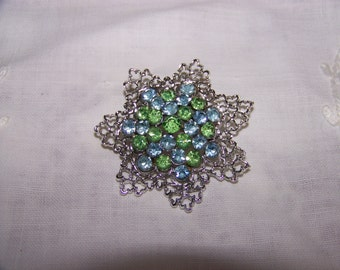 Vintage Pretty Blue and Green Rhinestone Brooch Think Spring
