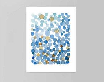 original watercolor painting blue bubbles Abstract watercolor painting  9 x 12 little watercolor painting