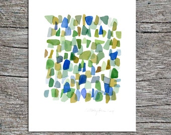 Original watercolor painting -Sea glass painting - Abstract painting - green blue beach finds