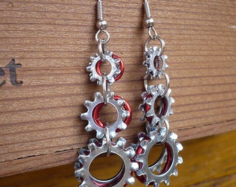 Steampunk Inspired Red Ring and Silver Gear Earrings