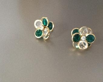 Vintage Swarovski  green crystal gold plated earrings