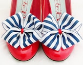 Nautical ShOe CliPs Red Satin Stripe Shoe Bows Accessory Pinup Burlesque Pair By Seriously Sassy