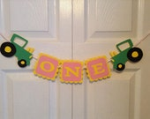 Tractor birthday banner, I am 1, first birthday, high chair tray banner, ONE, 1st birthday, green tractor