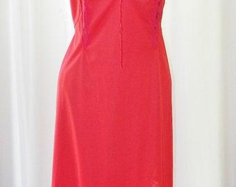 Vanity Fair Red Crystal  Accordion Pleated Hemline Tie Bodice Old Stock Unworn Size 36