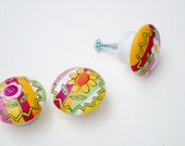 Hand Painted Knobs, 1.5 Inch Wooden Drawer Pulls Set of 4, Child's Room, Nursery Decor- Ready to Ship