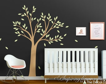 Tree with leaves wall decal, vinyl wall sticker set, baby nursery and interior decor WAL-2155A