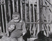 Vintage French Photo - Child Stood Outside with Balls