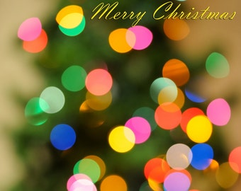 Holiday,Card,Merry Christmas,Colored Lights,Bokeh, Set of 10, Set of 20, Set of 25