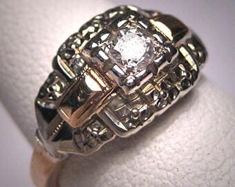 Antique Diamond Wedding Ring Art Deco White Rose Gold