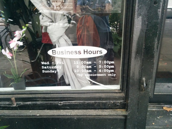 Business hours / store hours / salon hours / photography hours / vinyl sign / business sign / salon sign / vinyl decal / sign decal / vinyl
