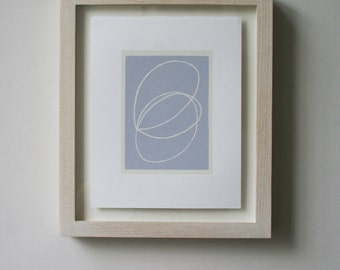 Small abstract screenprint, original, handmade, blue and white, small minimal wall art on gorgeous paper by Emma Lawrenson.