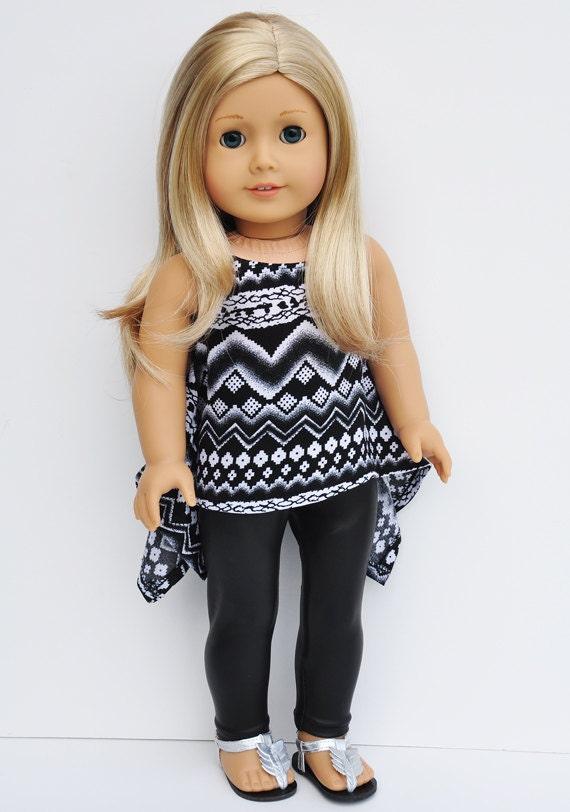 American Girl Clothes Tribal Print Twirly Top Black Liquid