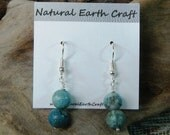 Blue natural chrysocolla earrings blue green teal unpolished semiprecious stone jewelry packaged in a colorful gift bag 2640 A