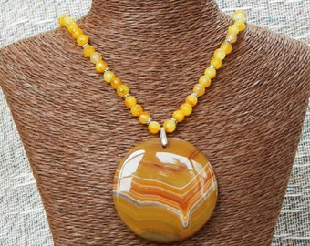 """Yellow orange banded agate pendant necklace 19"""" long semiprecious stone jewelry packaged in a gift bag 10122"""