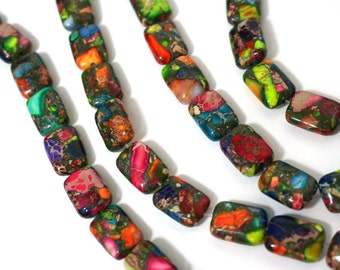 Mixed Impression Jasper, Colorful Gemstone Beads, 10mm x 14mm rectangle, FULL & HALF strands available  (978S)
