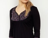 jersey top - black - flowers