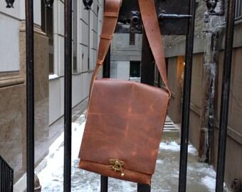 Peckslip laptop bag, handmade leather bag, briefcase/messenger, leather computer bag, brown leather bags & satchels by Aixa Sobin bag maker