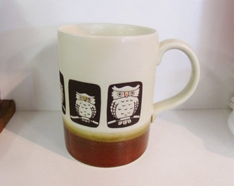 Vintage owl mug - brown and white