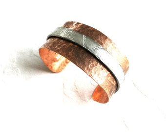 Statement Cuff in Copper and Silver, Guitar String Stamped on Silver Metal, Cuff for Him, Cuff for Her, Handmade