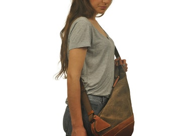 Handmade  Canvas crossbody Sling bag in light brown with leather details, named Korina MADE TO ORDER