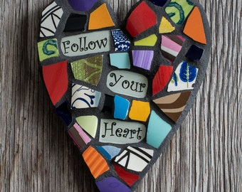 """Colorful Whimsical 5""""x6"""" Handmade Mosaic Heart with Personalized Sentiment MADE TO ORDER"""