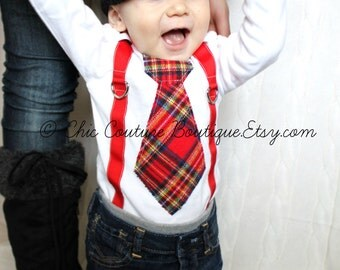 Red Plaid Valentines Day Baby Boy Tie and Suspenders Bodysuit Outfit. Birthday Outfit Cake Smash Winter Wedding Ring Bearer