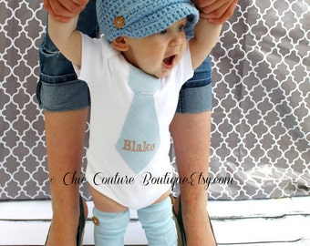Easter Spring NON-Personalized Baby Boy Tie bodysuit and Wood Button Leg Warmers. 1st Birthday Outfit, Baby Blue Tie, Cake Smash Valentines