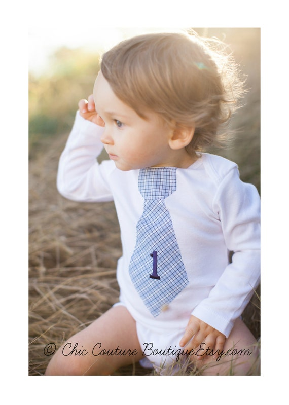 Baby Boy Personalized Tie Bodysuit.  Cake Smash 1st Birthday Gift. Any Number / Age Embroidered Bodysuit.  First Birthday, Second Birthday