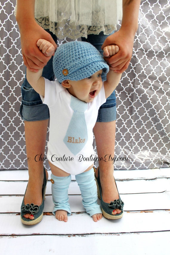 NON-Personalized Spring Baby Boy Tie bodysuit and Wood Button Leg Warmers. 1st Birthday Outfit Baby Blue Tie Cake Smash Christmas Holiday