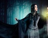 Black cloak dark satin cape with hood