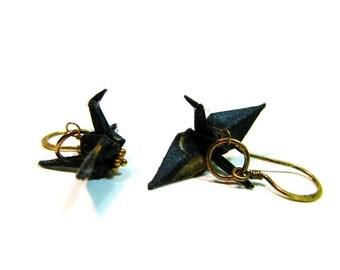 Half Off SALE Peace Crane Earrings Black Cranes on Vermeil Earwires Origami Crane Earrings