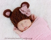 NEWBORN Baby Girl Hat, Chunky Monkey Flapper Hat, Brown with Country Pink Ears and Flower. Photo Props. Baby Shower Gift