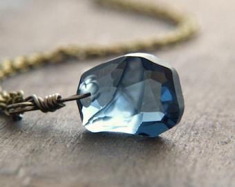 Blue Crystal Necklace - Swarovski Crystal Necklace - Dark Blue Necklace - Glitter Shimmer Necklace - Faceted Crystal Necklace