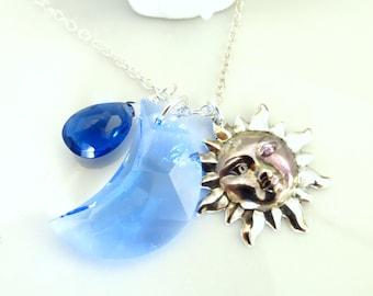 Sterling Silver Sun and Swarovski Blue Moon Charm Necklace, Silver sun moon blue crystal necklace, Sterling silver sun moon mystical pendant