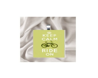 Scrabble Tile Pendant Necklace Keep Calm and Ride On
