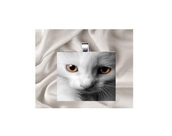 Scrabble Tile Pendant Necklace Cat