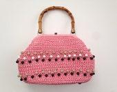Vintage 1950s Pink Nylon Woven Clamshell Beaded Bamboo Handle Handbag