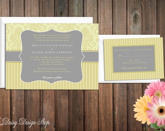 Wedding Invitation - Damask and Stripes in Mustard Yellow and Gray - Invitation and RSVP Card with Envelopes
