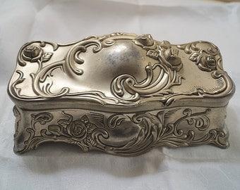 Vintage Art Nouveau Repousse Work Jewelry Casket Trinket Box Dresser Box Velveteen Liner