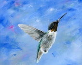 Hummingbird Blues - 8x8 Giclée Archival Print - Folk Art