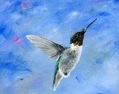 Hummingbird Blues - 8x8 Giclée Archival Print - Folk Art