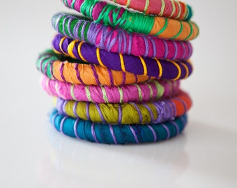 Tribal bracelets from silk textile, fabric bracelets, colorful bangles, stacking fiber and textile bracelets