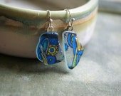 Beach Sea Glass Earrings with Stained Glass Illustration -- Harry Clarke -- Handmade in Ireland
