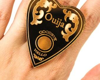 Gold Mirrored Acrylic Ouija Planchette Adjustable Statement Ring