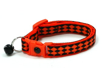Halloween Cat Collar - Harlequin Halloween in Orange and Black - Kitten or Large Size